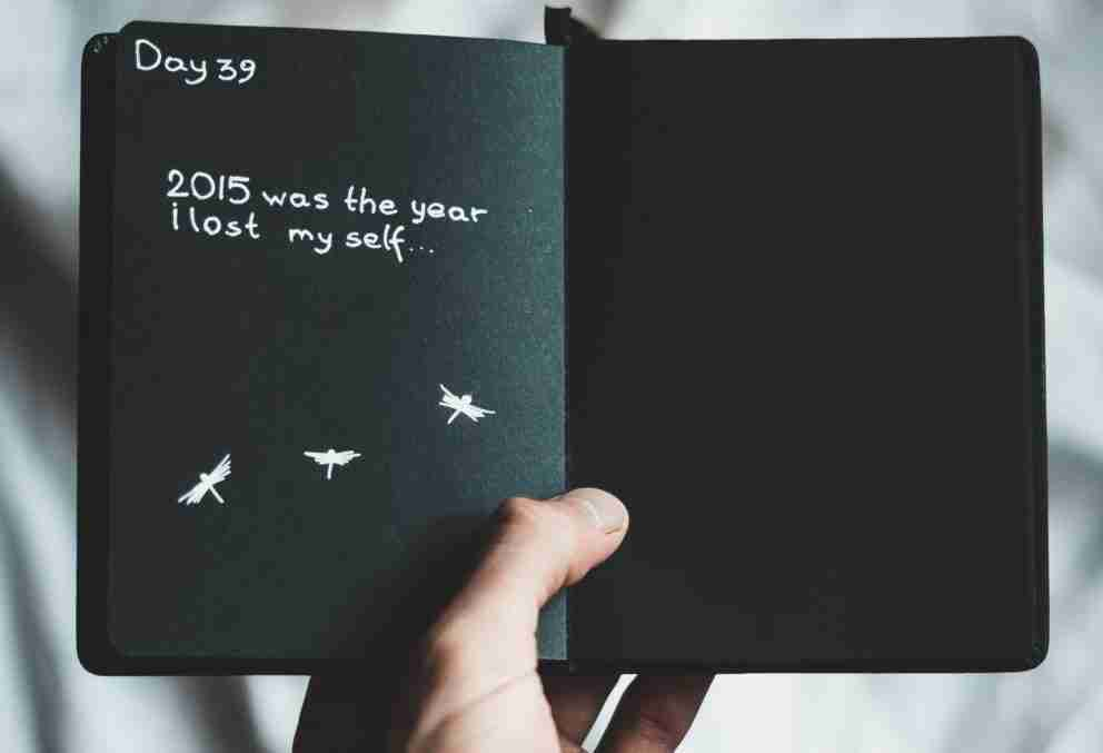 "Black journal page reading ""2015 was the year i lost myself..."""