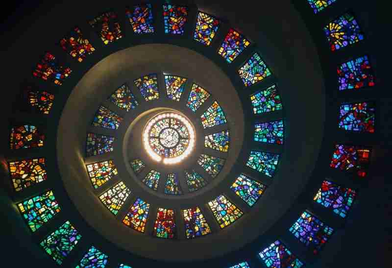 Stained glass windows spiral